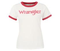 T-Shirt 'Retro Kabel' blutrot / weiß