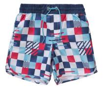 Badeshorts mit UV-Schutz für Jungen blau / dunkelrot / weiß