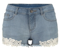 Hotpants mit Spitze blau