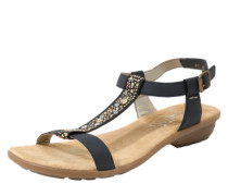 Sandale mit Strassbesatz dunkelblau