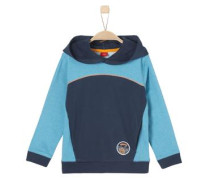 Zweifarbiges Kapuzenshirt himmelblau / dunkelblau / orange
