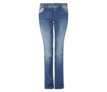 Smart Straight: Jeans mit Waschung blue denim