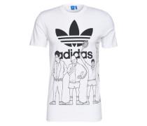 T-Shirt mit Front- und Back-Print 'Blockparty' weiß