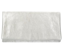 Mimosa Clutch Tasche Leder 28 cm silber