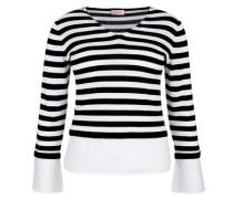 Streifenpullover mit Blusensaum schwarz / weiß