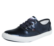 Schnürschuhe in Lack-Optik navy