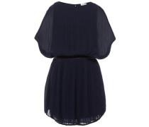 Kleid mit kurzen Ärmeln Plissee nachtblau