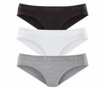 Slips (3 Stück) mit Glanzlogo Bund graumeliert / schwarz / weiß