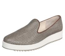 Slipper mit Plateau und Glitter braun / weiß