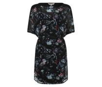 Kleid mit semitransparenten Oberkleid dunkelblau / mischfarben