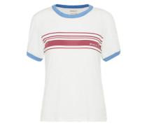 T-Shit mit Stripes hellblau / weinrot / weiß
