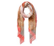 Abstrakt bedruckter langer Schal braun / grau / orange