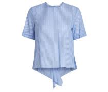 Gestreiftes kurzärmeliges Hemd hellblau