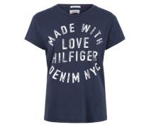 T-Shirt mit Vintageprint blau