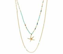 Kette ohne Anhänger »Sea Star double 6315« türkis / gold