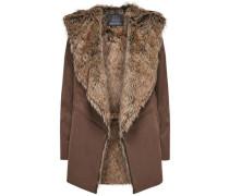 Mantel Wildlederlook- braun