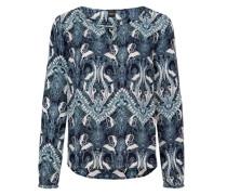 Crêpe-Bluse mit Allover-Print mischfarben