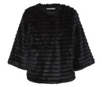 Fake-Fur Jacke mit Dreiviertelärmeln schwarz