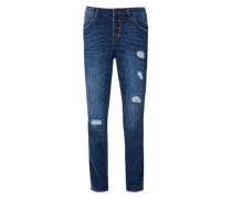 Boyfriend: Jeans mit Destroyes blue denim