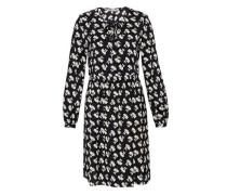 Seidenkleid mit grafischem Blumendruck schwarz