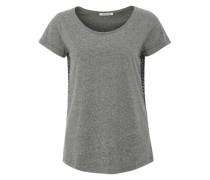 T-Shirt im Material-Mix grau