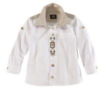 Kinder Trachtenhemd mit Stickerei hellbraun / dunkelbraun / weiß