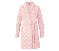 Morgenmantel aus Teddyplüsch mit Sternmuster rosa / weiß