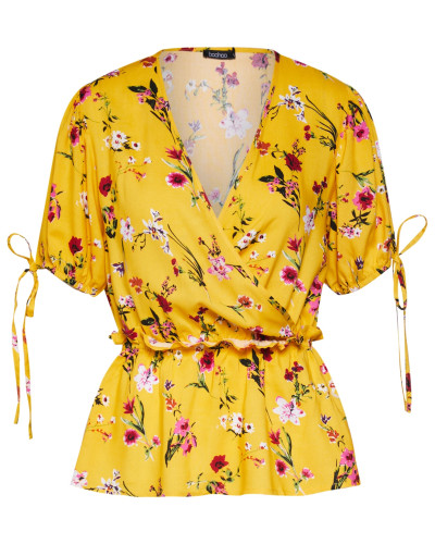 Bluse 'new Floral' gelb / rot