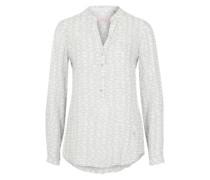 Bluse mit V-Ausschnitt hellgrau / offwhite