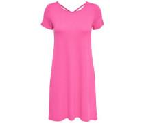 Lässiges Kleid mit kurzen Ärmeln pink