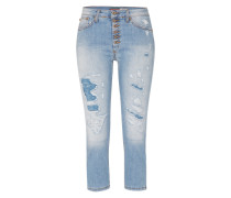 Capri-Jeans mit Destroyed-Effekten blue denim