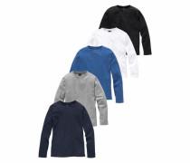 Langarmshirt (Packung 5 tlg.) blau / navy / graumeliert / schwarz