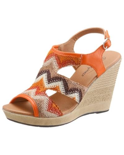 Sandalette in trendigen Ethno-Look beige / braun / neonorange