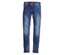 Suri Slim: Stretchige Used-Jeans blau