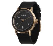 Armbanduhr 'Stark Leather' gold / schwarz