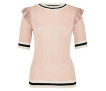 Lurex-Pullover mit Schulterrüschen puder / schwarz / naturweiß