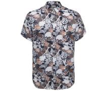 Regular Fit - Kurzarmhemd blau / dunkelorange / weiß