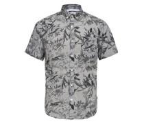 Bedrucktes Kurzarmhemd grau / schwarz