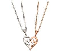 Schmuckset: Partnerschmuck bestehend aus 2 Halsketten und Anhängern 'Herz' (Set 4tlg.)