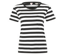 T-Shirt 'The perfect pocket tee' schwarz / weiß