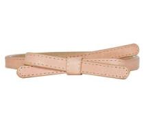 Skinny-Ledergürtel mit Schleife puder
