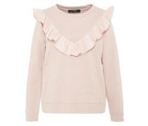 Sweatshirt mit V-Rüsche rosa