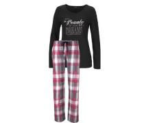Kuscheliger Pyjama mit Frontprint mit Glanzdetails grau / pink / schwarz