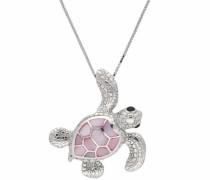 Kette mit Anhänger 'Schildkröte' rosa / silber