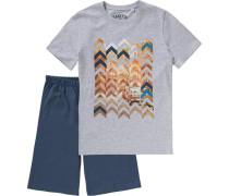 Schlafanzug für Jungen dunkelblau / graumeliert