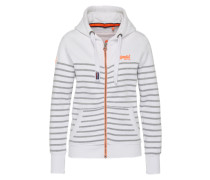 Sweatjacke 'Sun & Sea' grau / orange / weiß