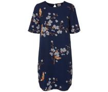 Bedrucktes Kurzkleid mit Blumen blau