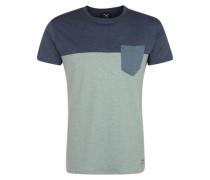 T-Shirt mit Brusttasche taubenblau / hellblau / blaumeliert