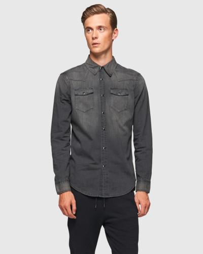 blk dnm herren blk dnm jeanshemd 39 5 39 blau schwarz 12 reduziert. Black Bedroom Furniture Sets. Home Design Ideas