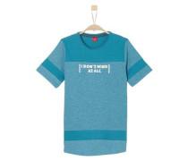 T-Shirt mit Kontrast-Einsätzen türkis / hellblau